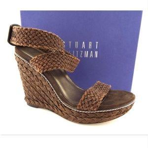 STUART WEITZMAN Brown Crochet Wedge Sandals 9.5